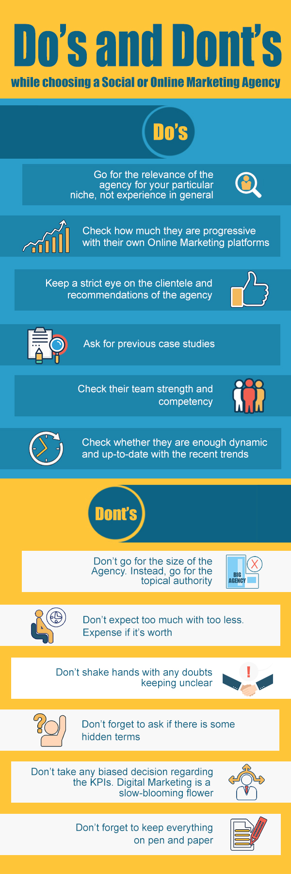 Do's and dont's while choosing a social or online marketing agency.