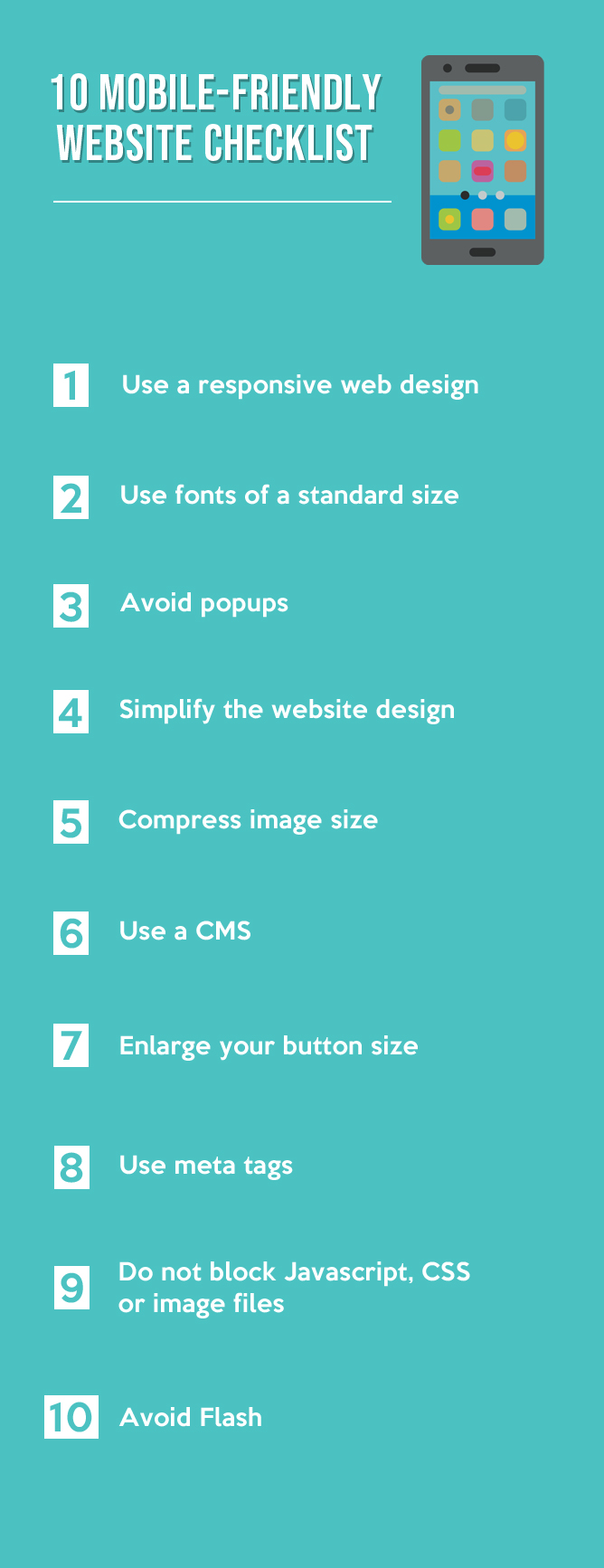 10 MOBILE-FRIENDLY WEBSITE CHECKLIST - INFOGRAPHIC