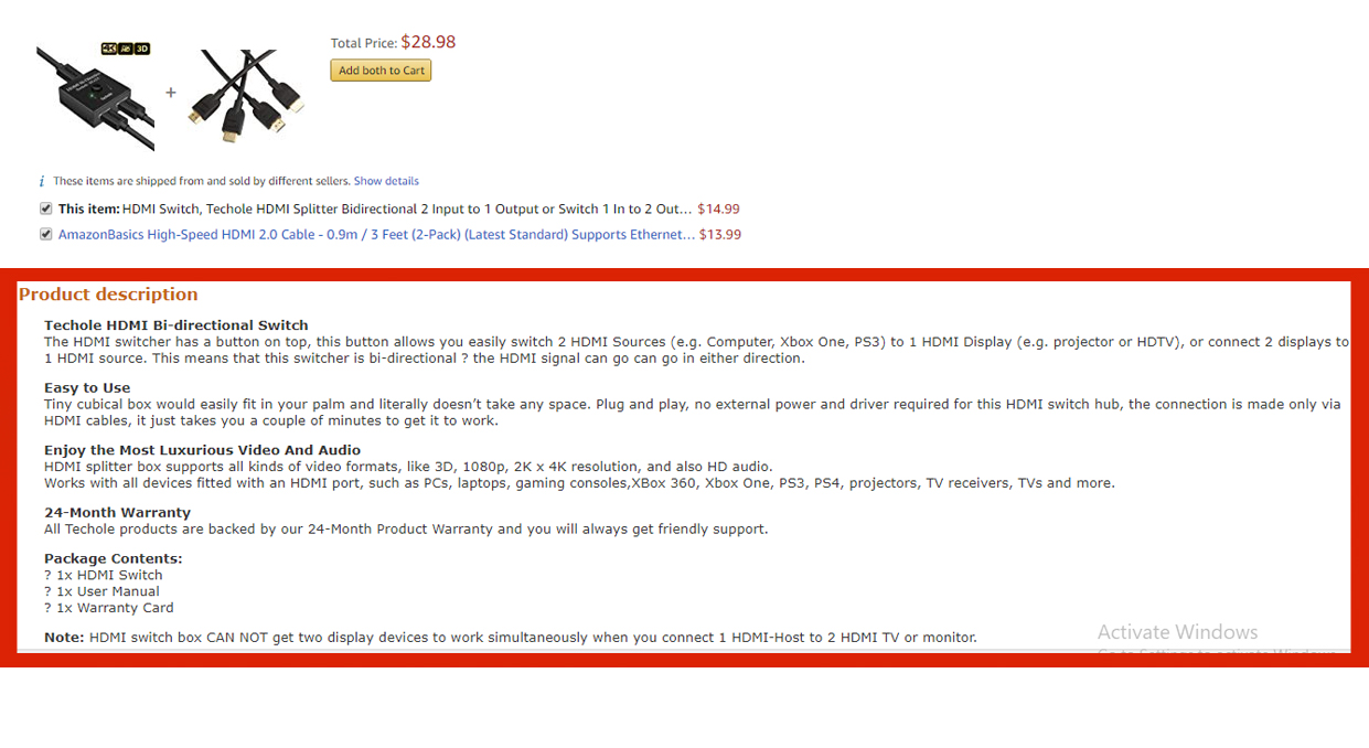 Amazon online descriptions